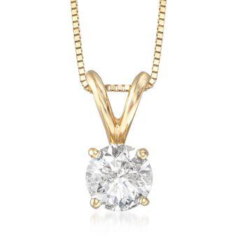 ".75 Carat Diamond Pendant Necklace in 14kt Yellow Gold. 18"", , default"
