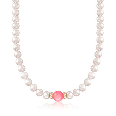 7-8mm Cultured Pearl and 10-10.5mm Pink Coral Bead Necklace in 14kt Yellow Gold, , default