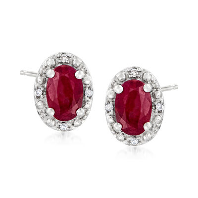 1.20 ct. t.w. Ruby Stud Earrings with Diamond Accents in Sterling Silver