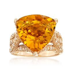 10.00 Carat Citrine and .20 ct. t.w. White Zircon Ring in 14kt Yellow Gold, , default
