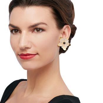 Italian 40.00 ct. t.w. White Quartz Flower Earrings with Black Spinels in 18kt Gold Over Sterling