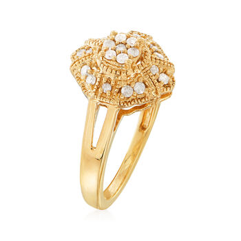 .25 ct. t.w. Diamond Vintage-Style Ring in 18kt Gold Over Sterling