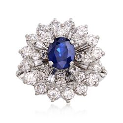 C. 1980 Vintage 1.28 Carat Sapphire and 2.40 ct. t.w. Diamond Cluster Ring in Platinum, , default