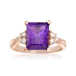 3.00 Carat Amethyst and .24 ct. t.w. Diamond Ring in 14kt Rose Gold, , default