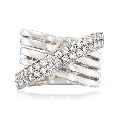 1.35 ct. t.w. Diamond Crisscross Ring in 14kt White Gold
