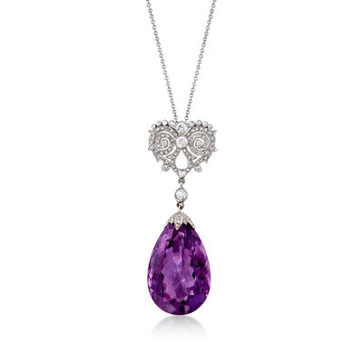 C. 2000 Vintage 26.50 Carat Amethyst and 1.00 ct. t.w. Diamond Drop Necklace in 18kt White Gold