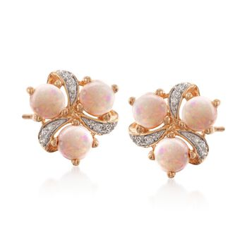 Opal Earrings With Diamonds in 18kt Over Sterling, , default