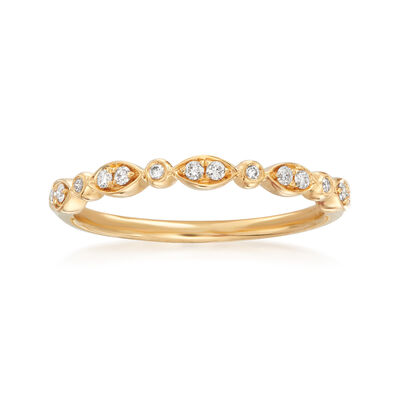 Henri Daussi .11 ct. t.w. Diamond Wedding Ring in 14kt Yellow Gold, , default