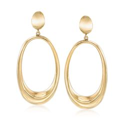Italian 18kt Gold Over Sterling Elongated Oval Drop Earrings, , default
