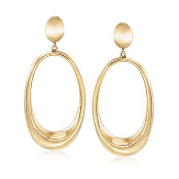 Italian 18kt Gold Over Sterling Elongated Oval Drop Earrings, , default