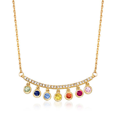 .30 ct. t.w. Multicolored Sapphire and .15 ct. t.w. Diamond Necklace with Ruby Accent in 14kt Yellow Gold, , default