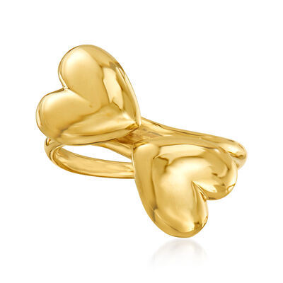 Italian 14kt Yellow Gold Heart-Shaped Bypass Ring