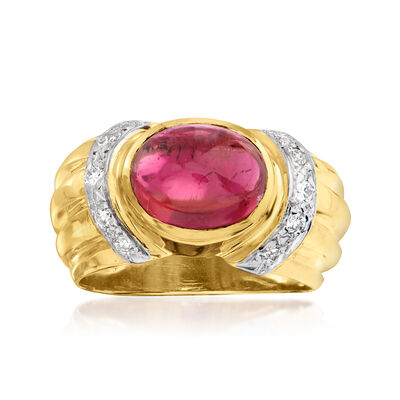C. 1980 Vintage 3.00 Carat Pink Tourmaline and .25 ct. t.w. Diamond Ring in 14kt Yellow Gold