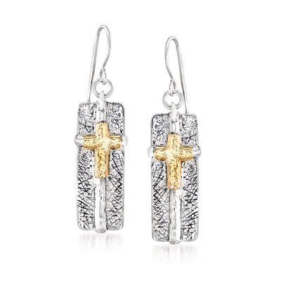 Sterling Silver and 14kt Yellow Gold Cross Drop Earrings , , default