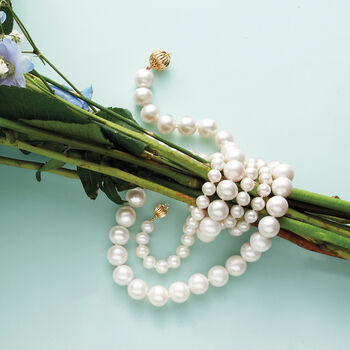11-12mm Cultured Pearl Necklace with 14kt Yellow Gold