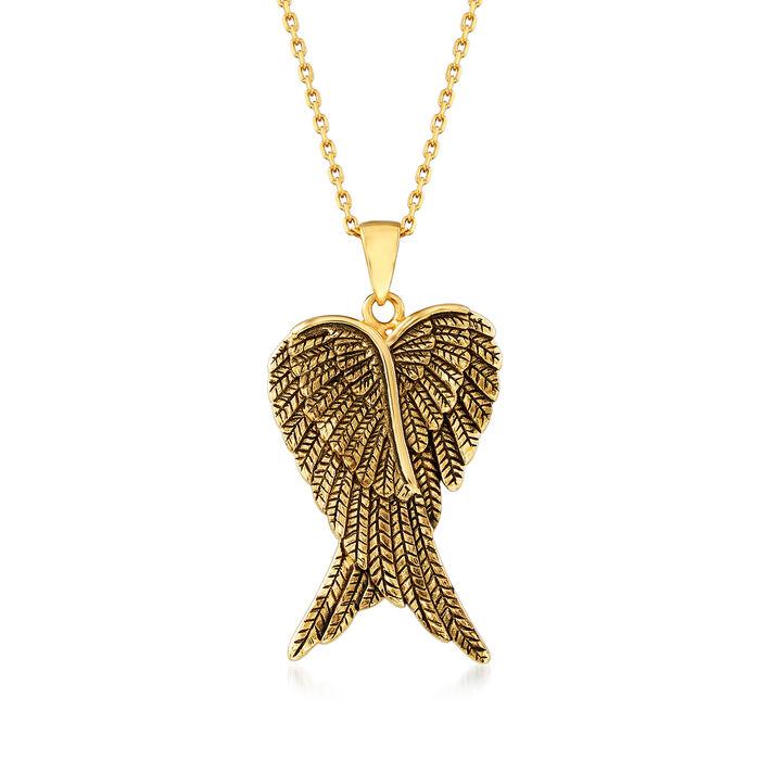 18kt Gold Over Sterling Angel Wing Pendant Necklace, , default