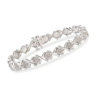 1.00 ct. t.w. Pave Diamond X Link Bracelet in Sterling Silver, , default