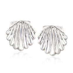 Sterling Silver Seashell Motif Clip-On Earrings, , default