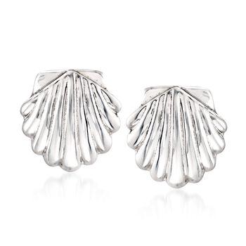 Sterling Silver Seashell Motif Clip-On Earrings, , default