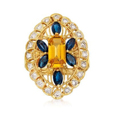 C. 1980 Vintage 3.68 ct. t.w. Multicolored Sapphire and .45 ct. t.w. Diamond Filigree Ring in 18kt Yellow Gold