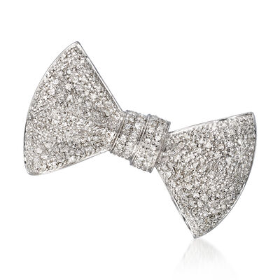 .75 ct. t.w. Pave Diamond Bow Pin in Sterling Silver, , default