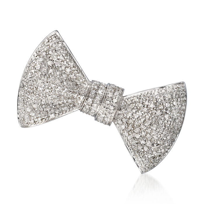 .75 ct. t.w. Pave Diamond Bow Pin in Sterling Silver