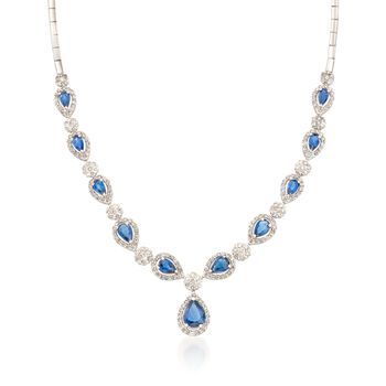 """4.65 ct. t.w. Sapphire and 2.80 ct. t.w. Diamond Necklace in 14kt White Gold. 18"""", , default"""
