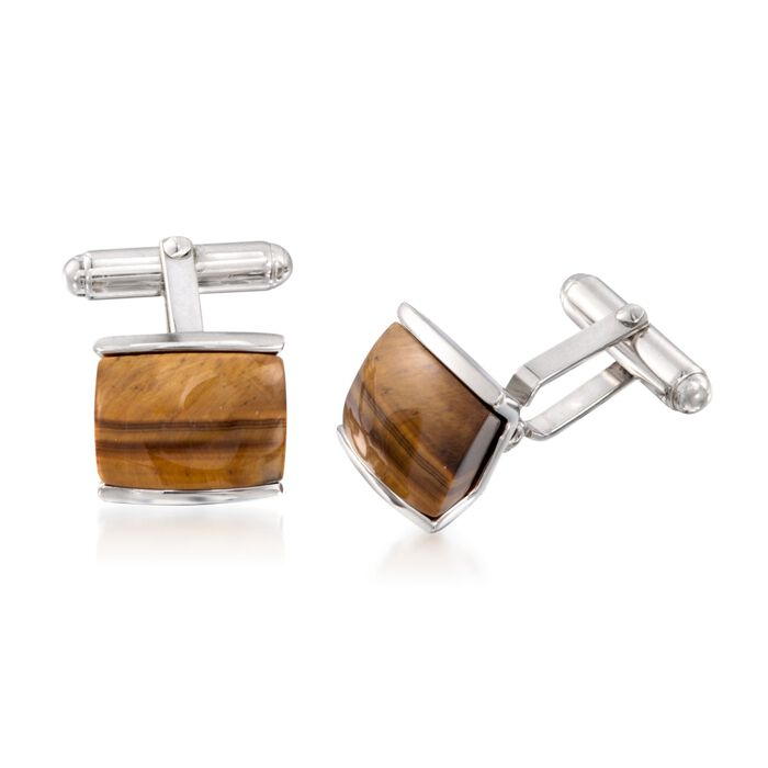 Rectangular Tiger's Eye Cuff Links in Sterling Silver, , default