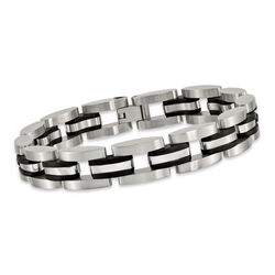 "Men's Stainless Steel Link Bracelet With Black Rubber. 8.5"", , default"