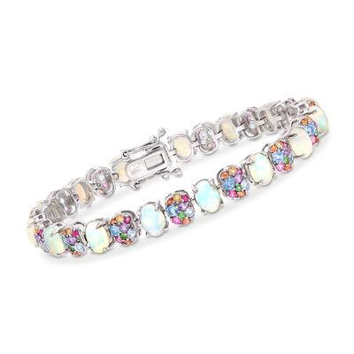 Opal and 4.30 ct. t.w. Multi-Gemstone Bracelet in Sterling Silver, , default