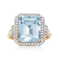 5.00 Carat Aquamarine and .22 ct. t.w. Diamond Ring in 14kt Yellow Gold, , default