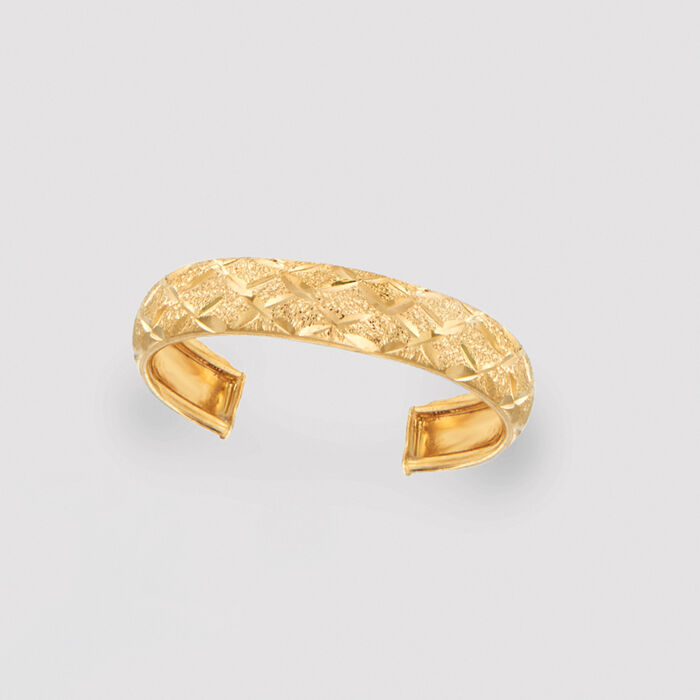 14kt Yellow Gold Diamond-Cut Adjustable Toe Ring
