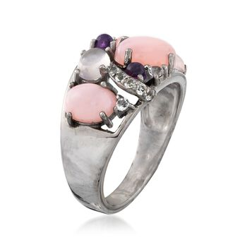 Pink and Purple Multi-Stone Ring with .10 ct. t.w. White Topaz in Sterling Silver. Size 7
