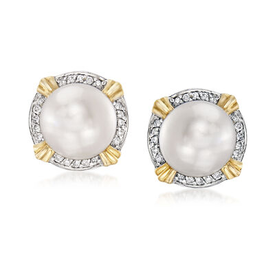 8-8.5mm Cultured Pearl and .10 ct. t.w. Diamond Earrings in 14kt Yellow Gold, , default