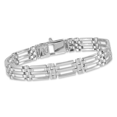 "Men's 14kt White Gold Brushed and Polished Link Bracelet. 8.5"", , default"