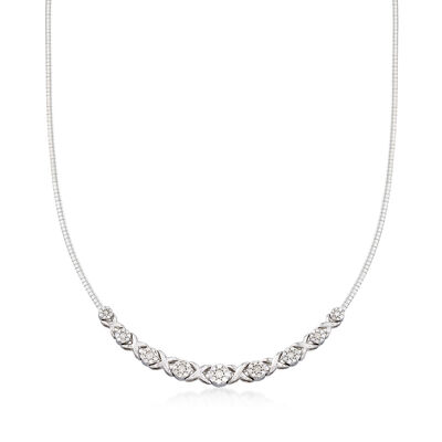 2.00 ct. t.w. Diamond XO Omega Necklace in Sterling Silver, , default