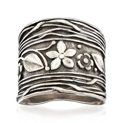 Textured and Polished Sterling Silver Flowers and Vine Ring, , default