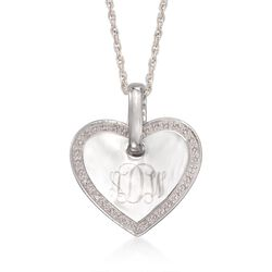 .10 ct. t.w. Diamond Personalized Heart Charm Necklace in Sterling Silver, , default