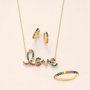 """.60 ct. t.w. Multi-Gemstone """"Love"""" Necklace in 14kt Yellow Gold, , default"""