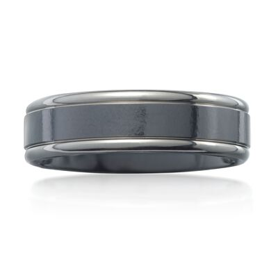 Men's 6.5mm Black Titanium  Wedding Ring, , default