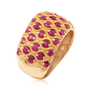 3.00 ct. t.w. Ruby Multi-Row Ring in 18kt Gold Over Sterling #924679