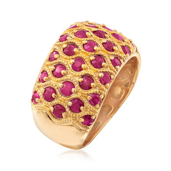 3.00 ct. t.w. Ruby Multi-Row Ring in 18kt Gold Over Sterling