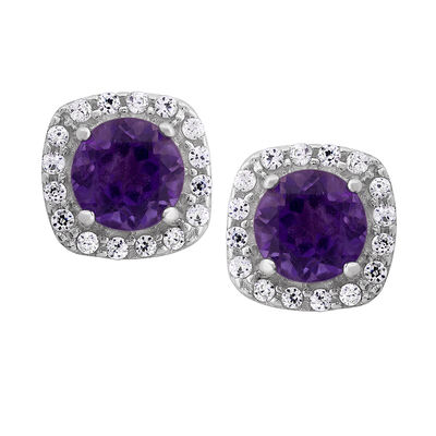 1.12 ct. t.w. Amethyst and .16 ct. t.w. CZ Halo Earrings in Sterling Silver