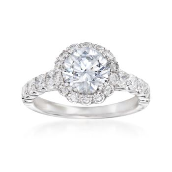 1.05 ct. t.w. Diamond Engagement Ring Setting in 14kt White Gold, , default