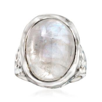 Moonstone Hammered Ring in Sterling Silver, , default