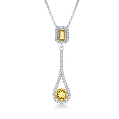 1.30 ct. t.w. Citrine and .52 ct. t.w. White Topaz Pendant Necklace in Sterling Silver, , default