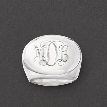 Italian Sterling Silver Oval Monogram Ring, , default