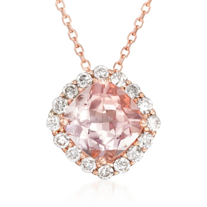"1.20 Carat Morganite and .30 ct. t.w. Diamond Pendant Necklace in 14kt Rose Gold. 16"", , default"