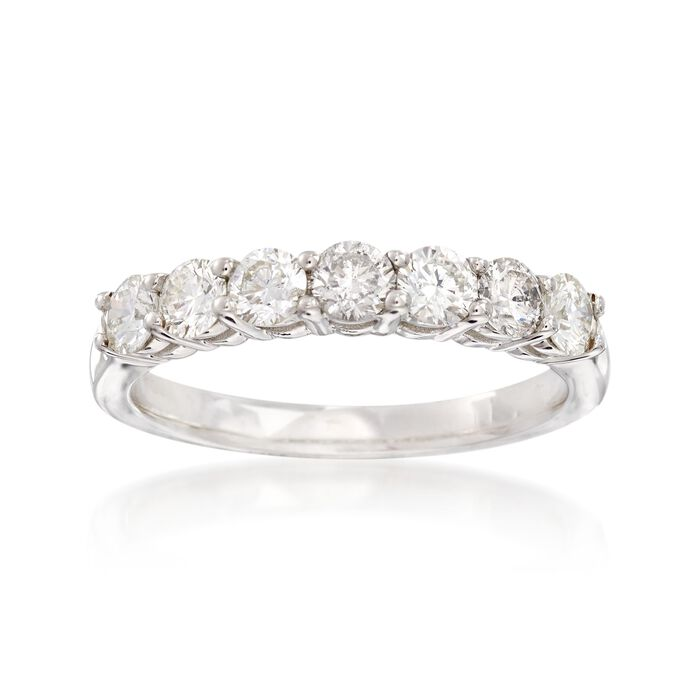 1.00 ct. t.w. Diamond Seven-Stone Wedding Ring in 14kt White Gold. Size 9