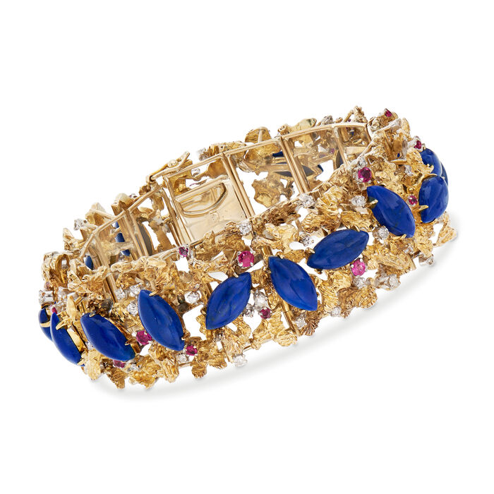 """C. 1970 Vintage Lapis and 1.10 ct. t.w. Ruby Bracelet with 1.00 ct. t.w. Diamonds in 14kt Yellow Gold. 7.5"""""""